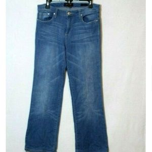 Seven7 light wash faded flare retro fit jeans